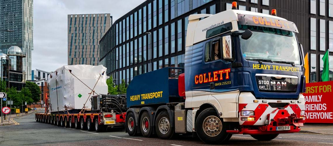 Collett Team Delivers the 128Te Transformer to Rochdale Substation